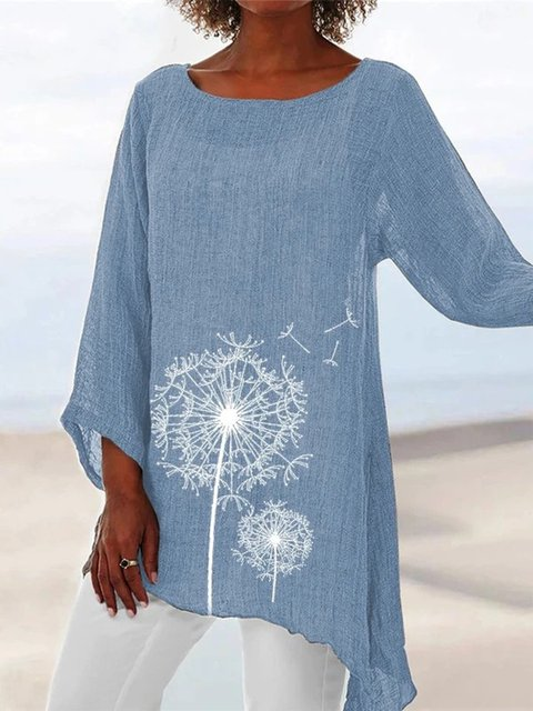 Light Blue Linen Holiday Daily 3/4 Sleeve Crew Neck Shirts & Tops