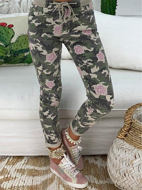 Army Green Daily Floral Camo Printed Casual Pants