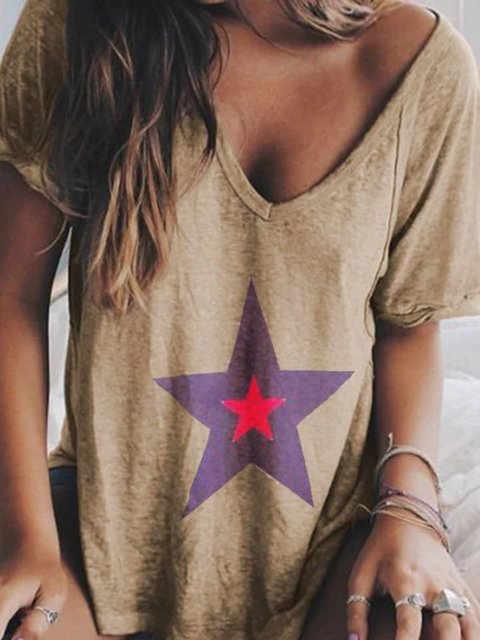 Star Printed Short Sleeve V Neck Cotton-Blend  Tops