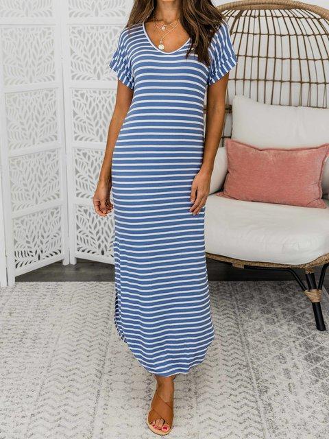 Summer Striped Maxi Dress Crew Neck Dresses