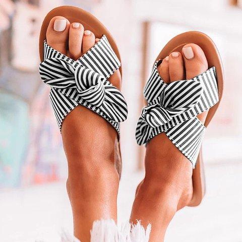 Women Summer Bowknot Stripe Sandal