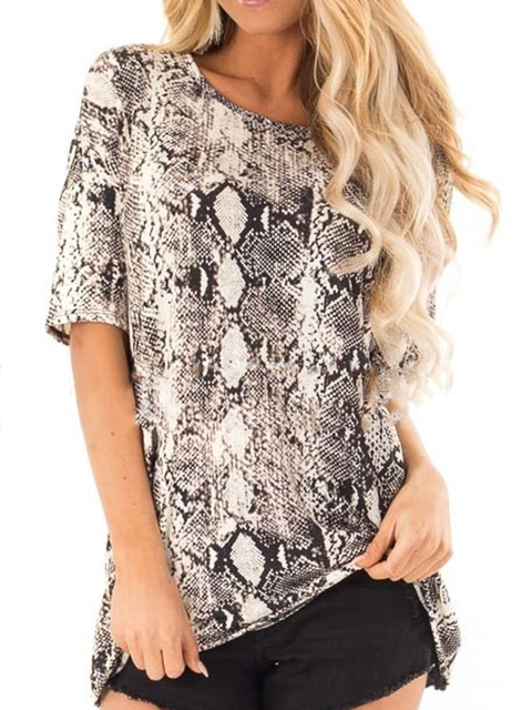 As Picture Short Sleeve Animal Crew Neck Shirts & Tops