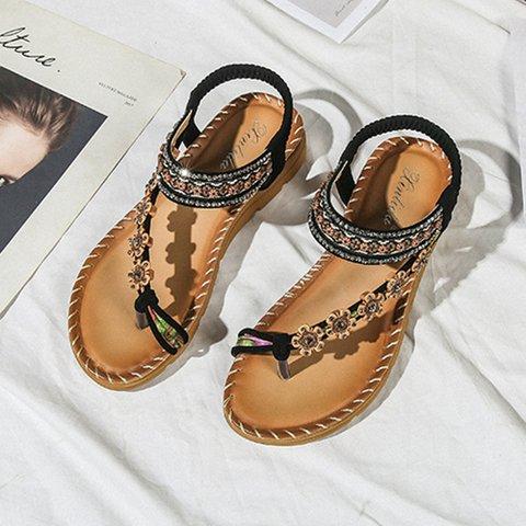 Pu Rhinestone Holiday Sandals
