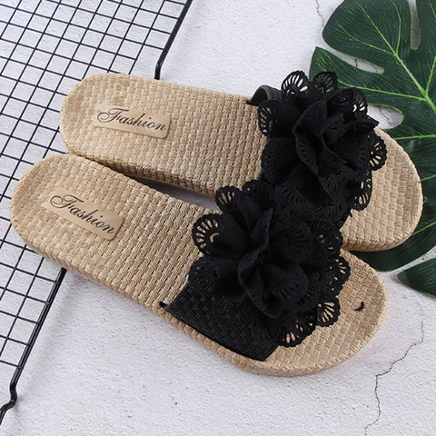 Women Slide PVC Beach Summer Flower Slippers