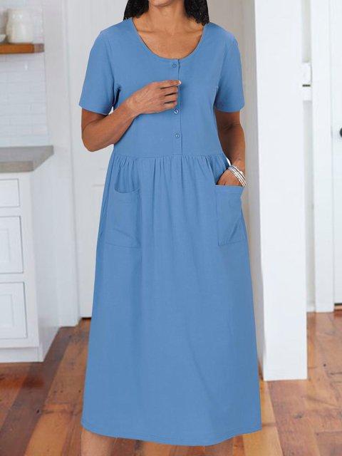 Pockets Solid Midi Dress Summer Short Sleeve Dresses