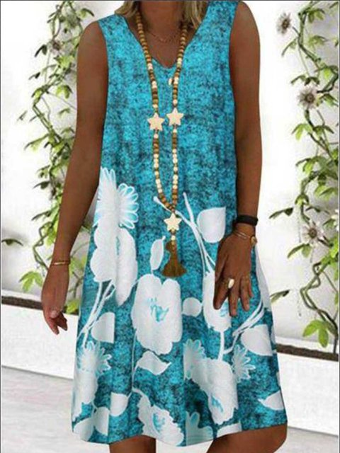 Holiday Printed Sleeveless Floral Dresses