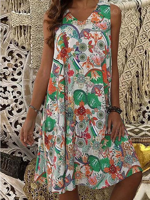 Women V-Neck Abstract Print Summer Dresses
