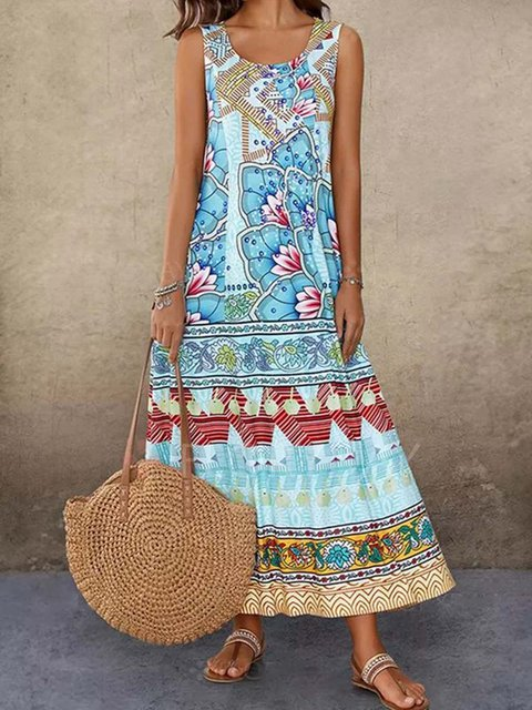 Women Floral Vintage Summer Maxi Dresses