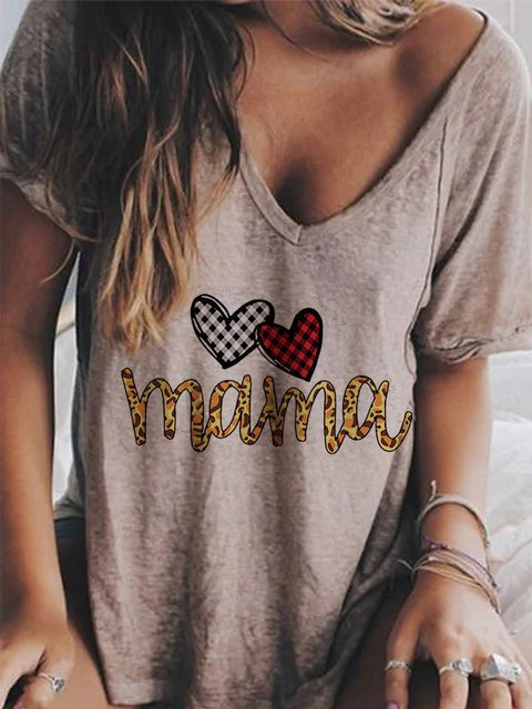 Short Sleeve Printed Casual Mom Letter T-Shirts