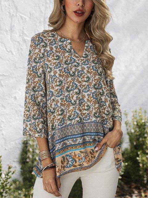 Blue Floral Cotton V Neck 3/4 Sleeve Shirts & Tops