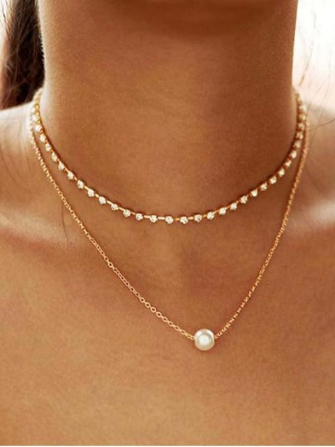 Alloy Faux Pearl Rhinestone Double Layered Necklace