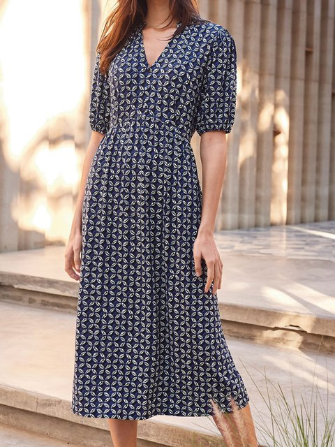V Neck Navy Blue Women Dresses