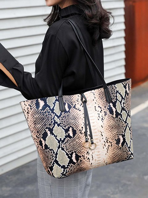 Fashionable color-block snake pattern bags