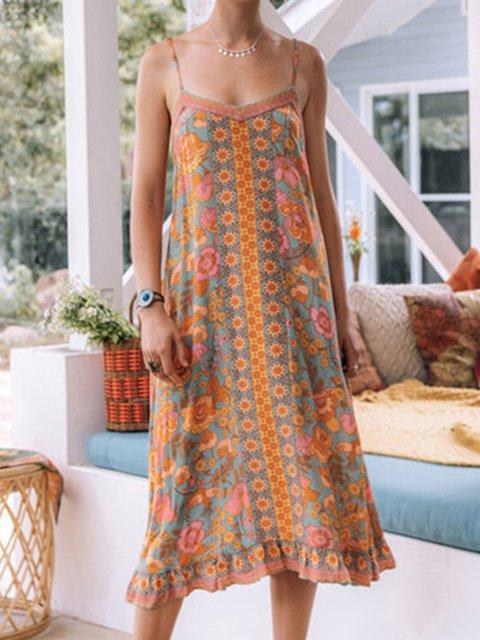 V-neck Sleeveless Floral Pattern Ruffle Dress