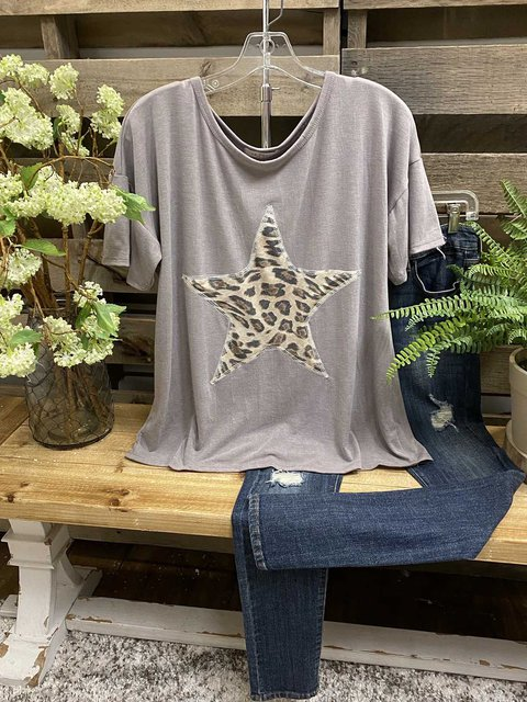 Gray Casual Leopard Shirts & Tops