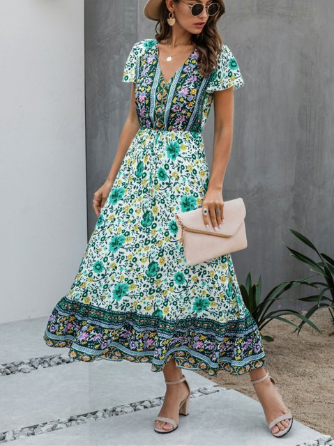 Short Sleeve Printed Casual V Neck Dresses