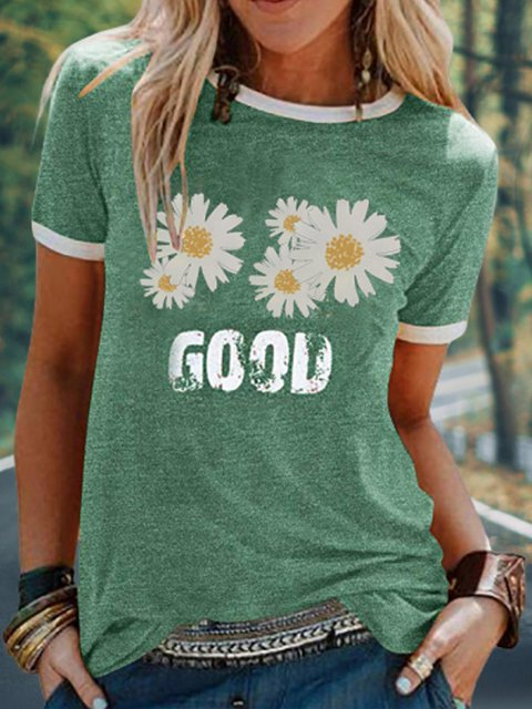 Daisy printed casual top wild T-shirt