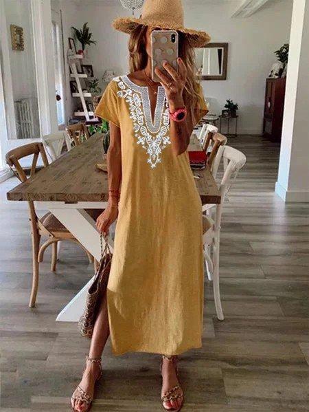 V-neck ladies dress tribal print dress