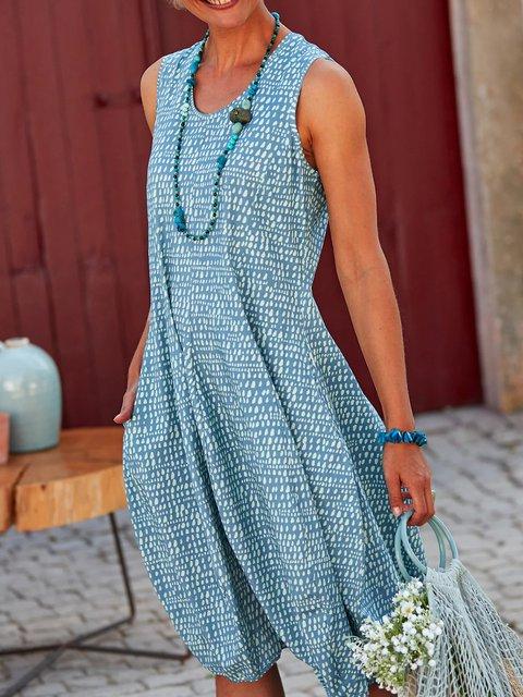Sleeveless Pockets Midi Dress Summer Cocoon Dresses