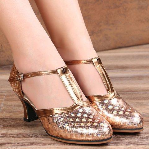Adjustable Buckle Closed Toe T-Strap Sandals Women Dance Shoes