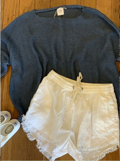 Casual retro simple basic cotton and linen shorts