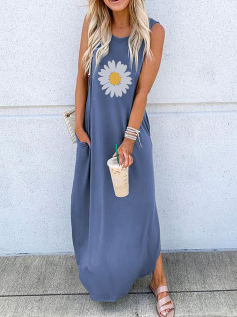 Plus size Sleeveless Casual Floral Dresses