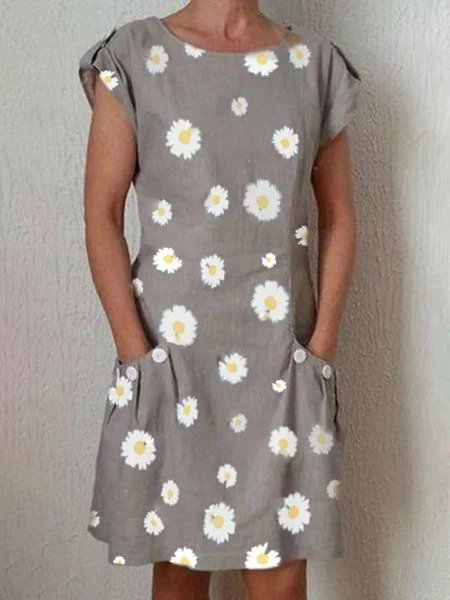 Light Gray Printed Shift Crew Neck Short Sleeve Dresses