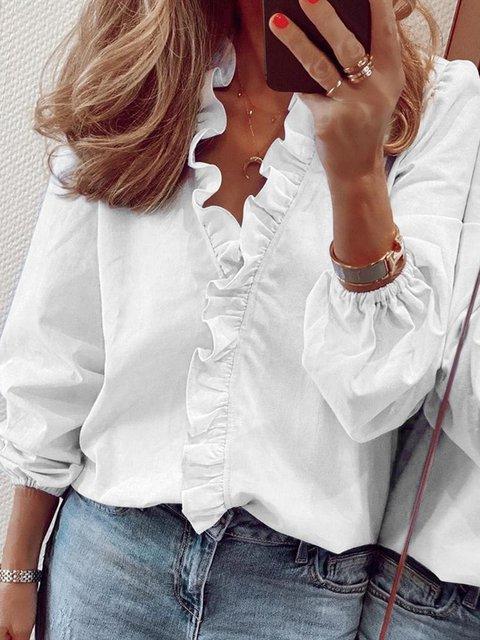 Casual Ruffled V neck Long Sleeve Shirts & Tops