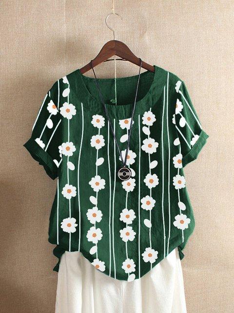 Floral-Print Floral Short Sleeve Shirts & Tops