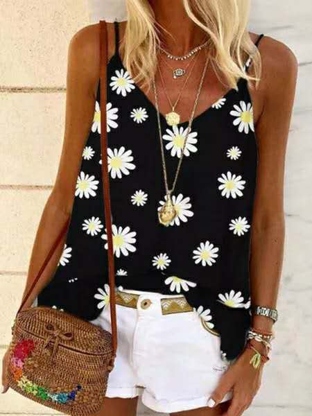 Vintage Sleeveless Daisies Printed Plus Size Casual Vest Tops
