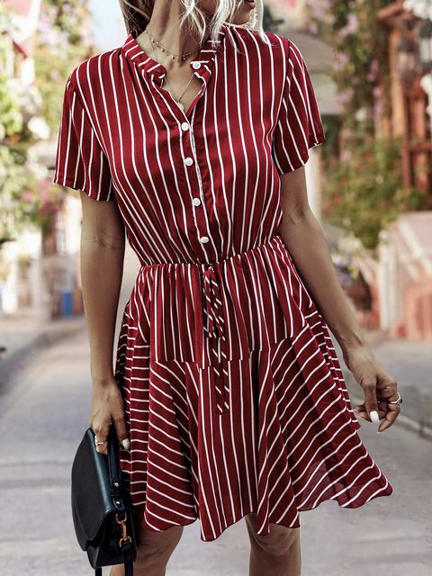 Stand Collar  A-Line Daily Stripes Dress