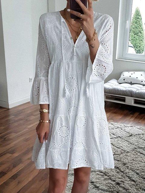 Solid V Neck Casual Dresses