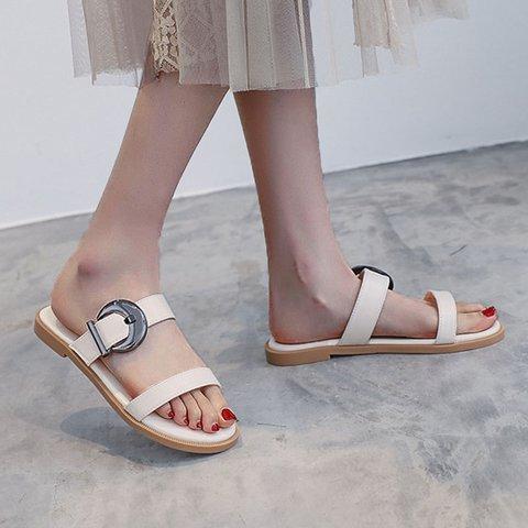 Women Slide Open Toe Pu Flat Heel Sandals