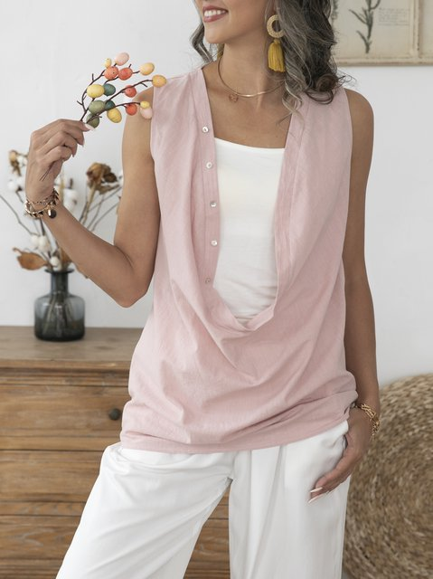 Pink Cotton Short Sleeve Solid Shift Shirts & Tops