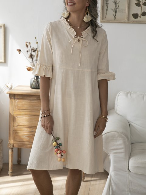 Apricot Half Sleeve Cotton Shift Lace-Up Dresses