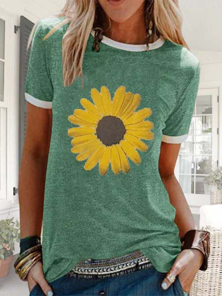 Women Sunflower Printed Summer Casual Tees