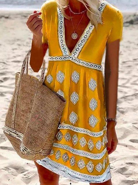Women Caftan V-Neck Holiday Summer Dresses
