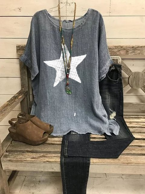 Blue Gray Cotton Casual Patchwork Shirts & Tops