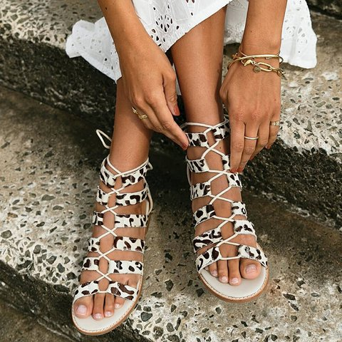 Lace-Up Low Heel Open Toe Gladiator Sandals