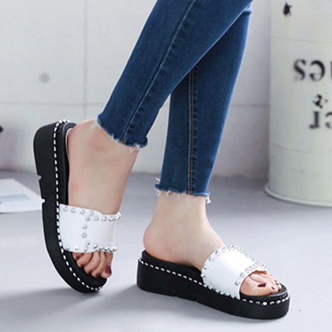Women Rivet Home Wear Casual Pu Wedge Heel Summer Slippers
