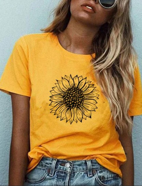 European and American summer casual personality sunflower print short sleeve T-shirt