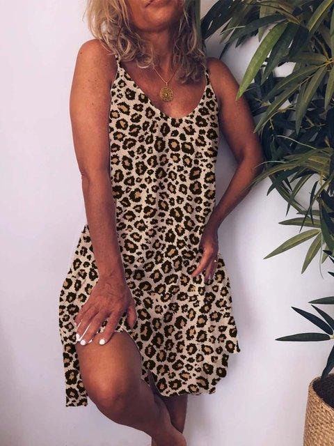 Leopard V Neck Printed Cotton-Blend Sleeveless Dresses