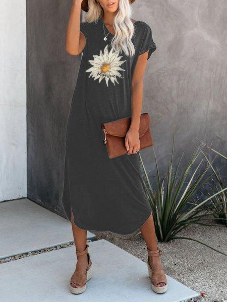 Mid-length Lady Dress Shift Daisy Print Dress