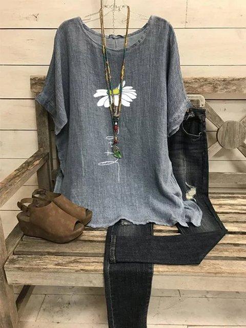 Gray Short Sleeve Printed Crew Neck Cotton-Blend Shirts & Tops