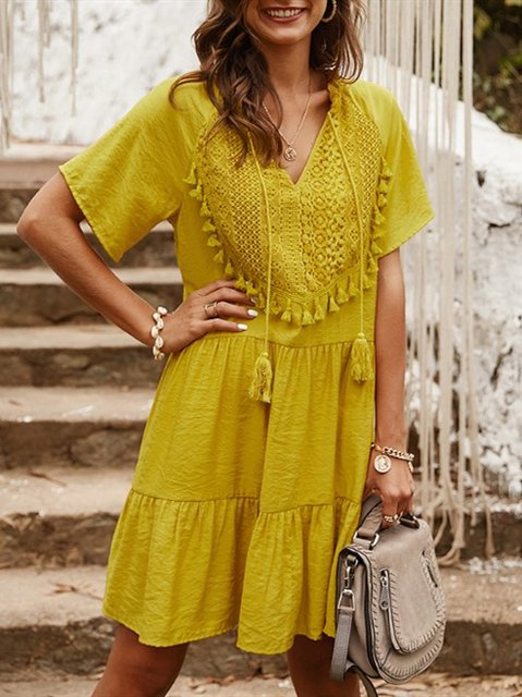 Boho Lace Paneled Short Sleeve Cotton A-Line Ruffled Dresses