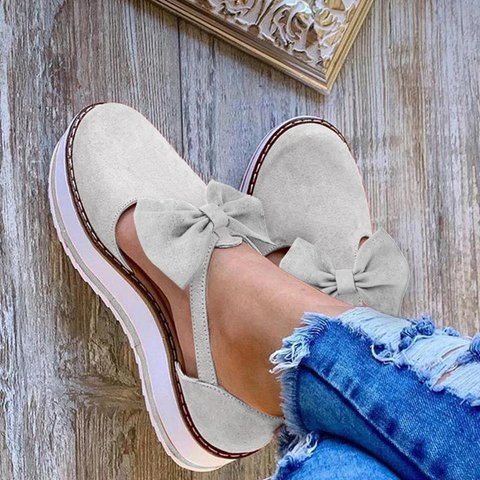 Women Summer Comfy Bowknot Suede Sneakers
