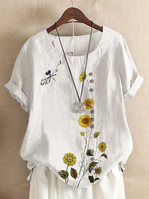 White Floral-Print Crew Neck Short Sleeve Floral Shirts & Tops