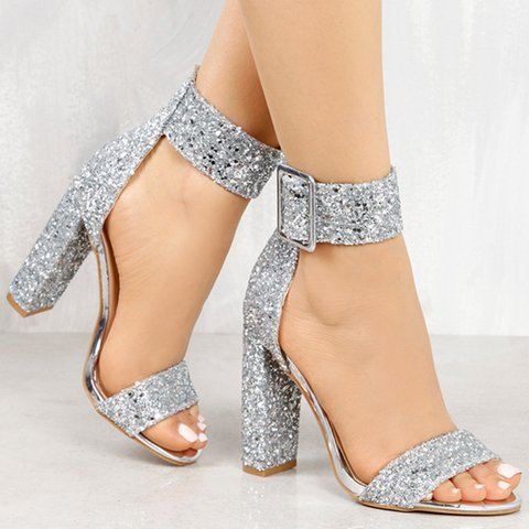 Crystal Chunky Heel Buckle Strap Sandals Plus Size Heels