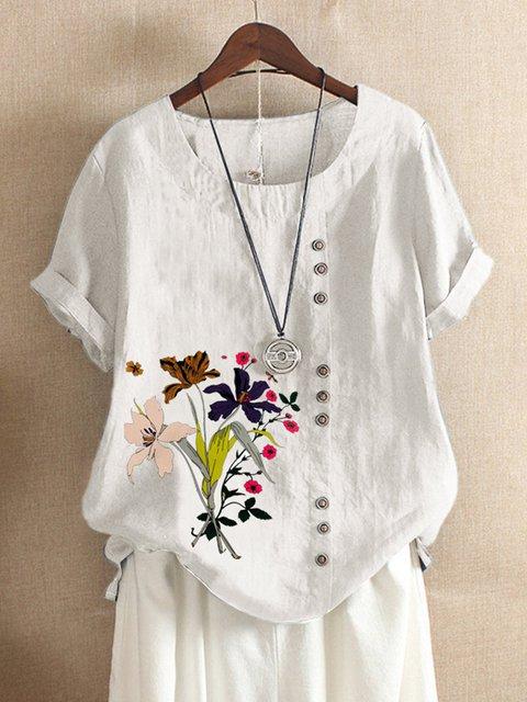 Floral-Print Short Sleeve Casual Shirts & Tops