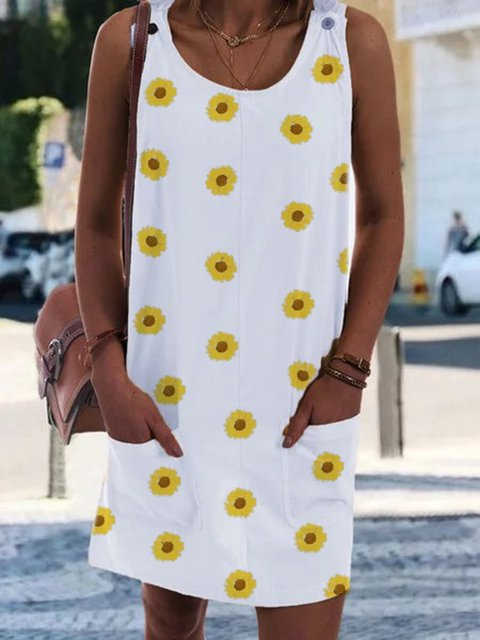 White Women Sunflower Cotton-Blend Dresses